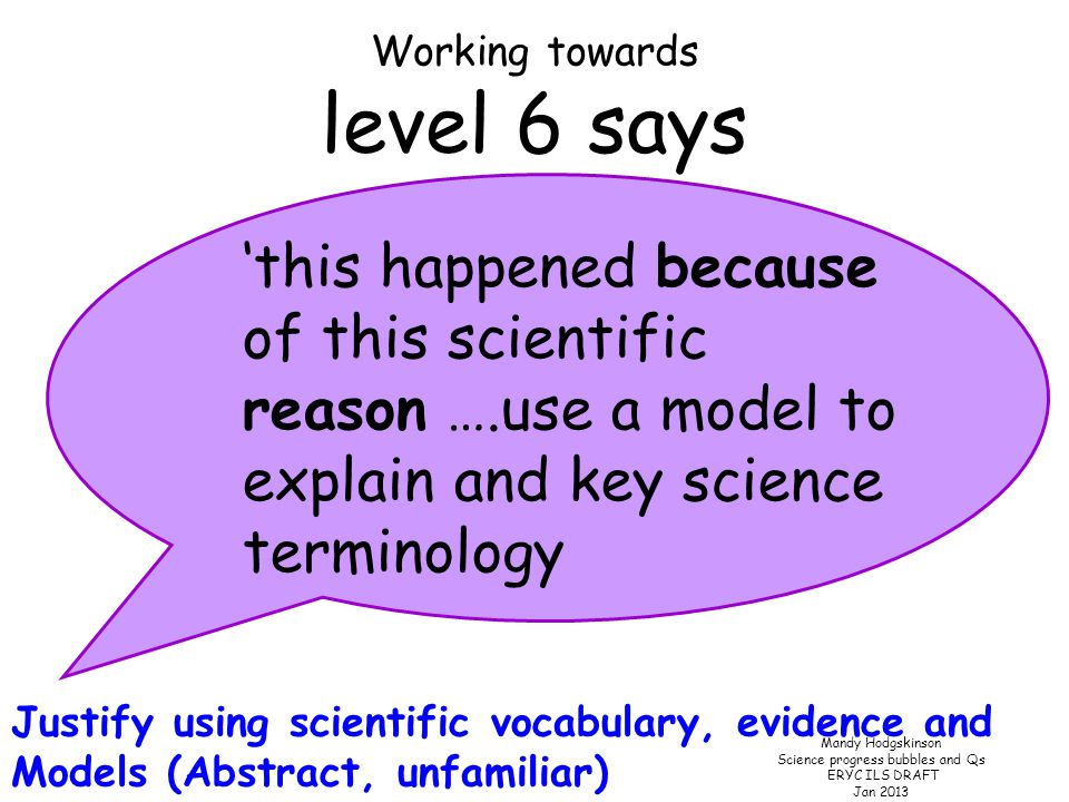 Mandy Hodgskinson Science progress bubbles and Qs ERYC ILS DRAFT Jan 2013 Working towards A level 5 says 'this is like this because of this scientific reason……' Explain using scientific vocabulary Abstract, unfamiliar