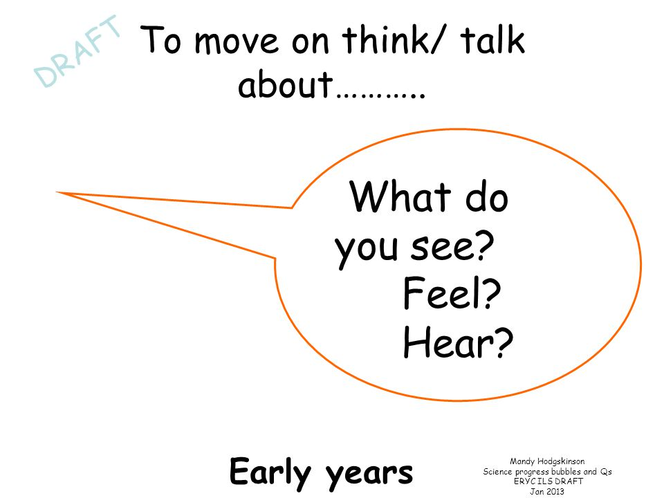 Mandy Hodgskinson Science progress bubbles and Qs ERYC ILS DRAFT Jan 2013 To move on think/ talk about………..