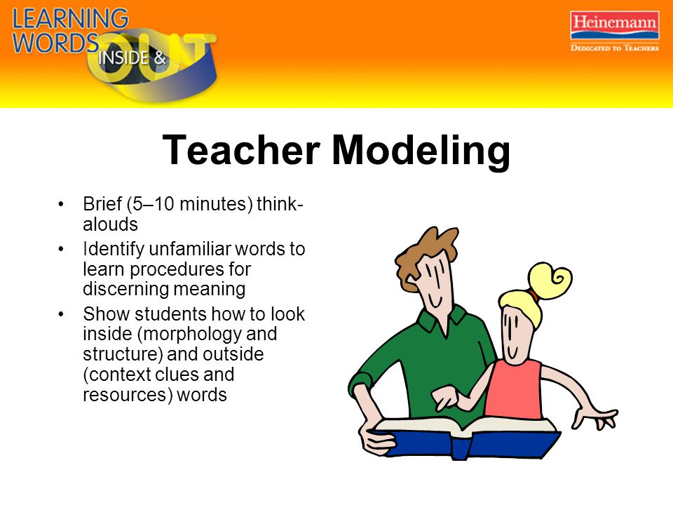 Teacher Modeling Brief (5–10 minutes) think- alouds Identify unfamiliar words to learn procedures for discerning meaning Show students how to look inside (morphology and structure) and outside (context clues and resources) words