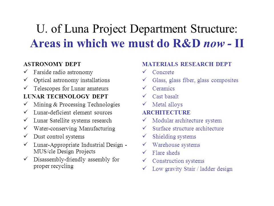 U. of Luna Project Department Structure: Areas in which we must do R&D now - II ASTRONOMY DEPT Farside radio astronomy Optical astronomy installations
