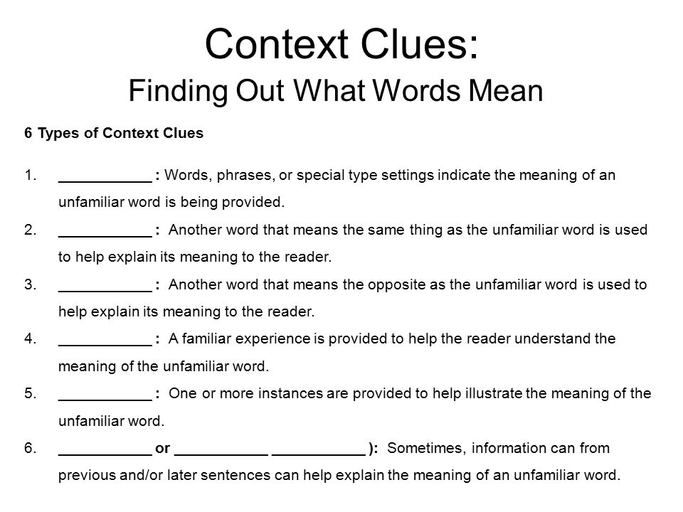 Context Clues: Finding Out What Words Mean Word Part Analysis 1.___________ : Word part attached to the ___________ of a word that adds meaning to the root word.