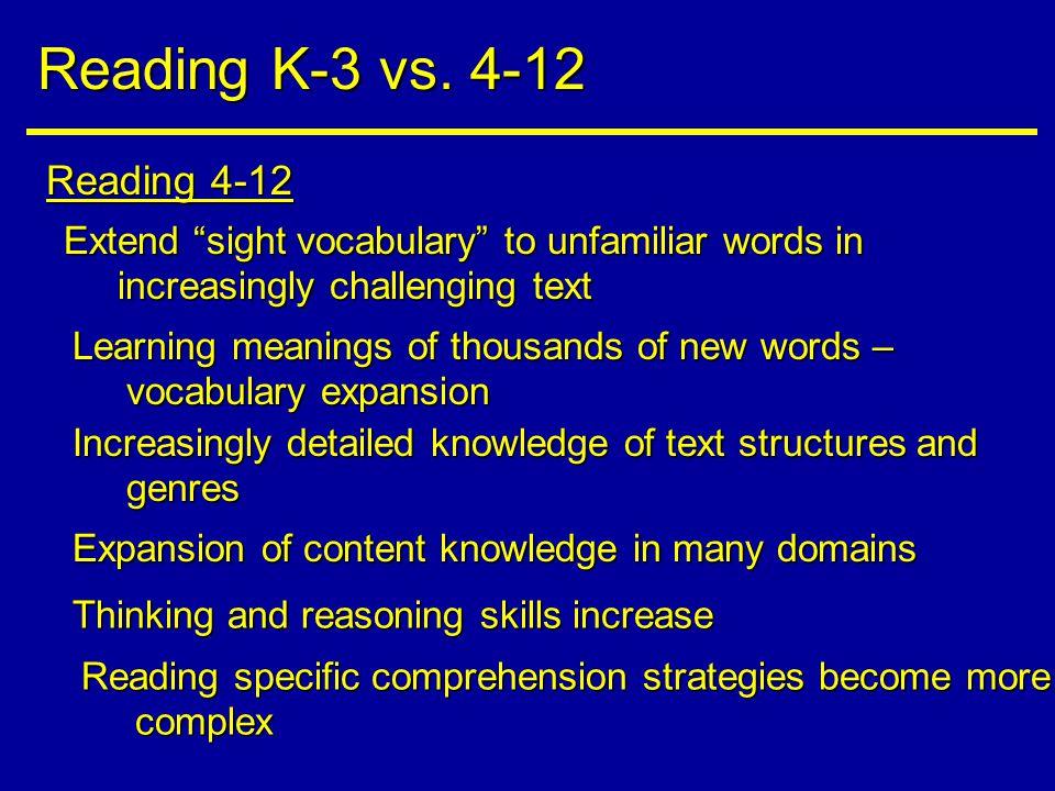 Reading 4-12 Reading K-3 vs.