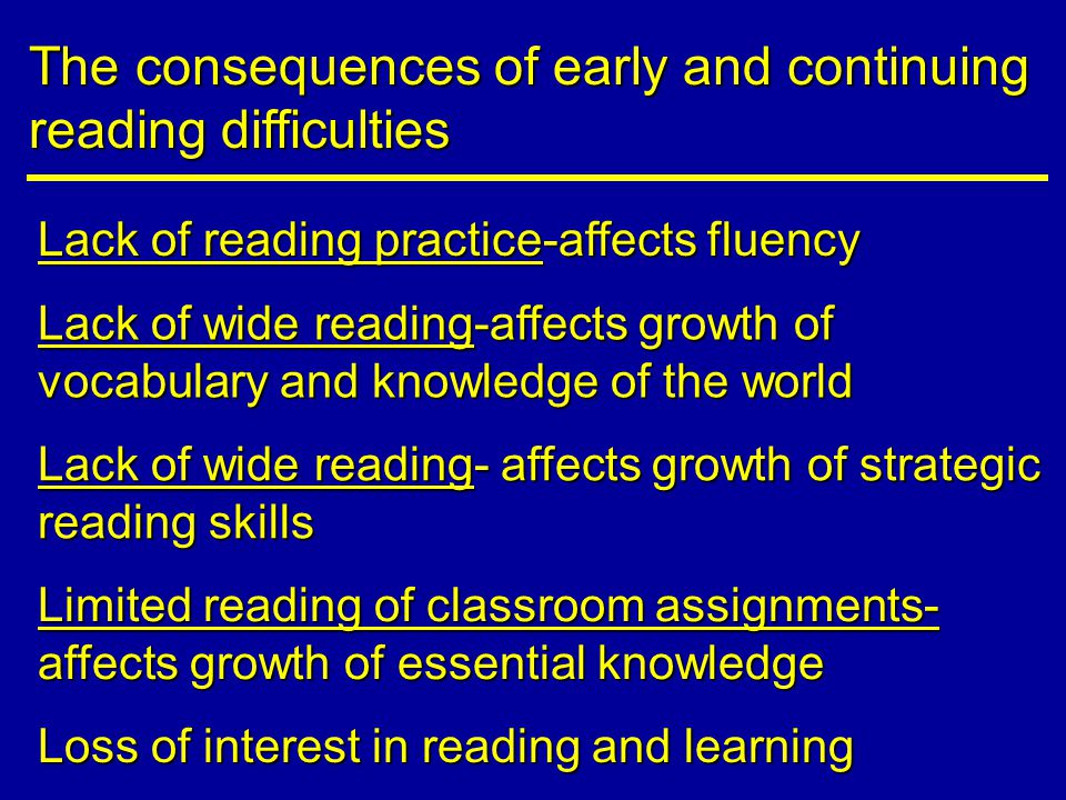 The consequences of early and continuing reading difficulties Lack of reading practice-affects fluency Lack of wide reading-affects growth of vocabulary and knowledge of the world Loss of interest in reading and learning Lack of wide reading- affects growth of strategic reading skills Limited reading of classroom assignments- affects growth of essential knowledge