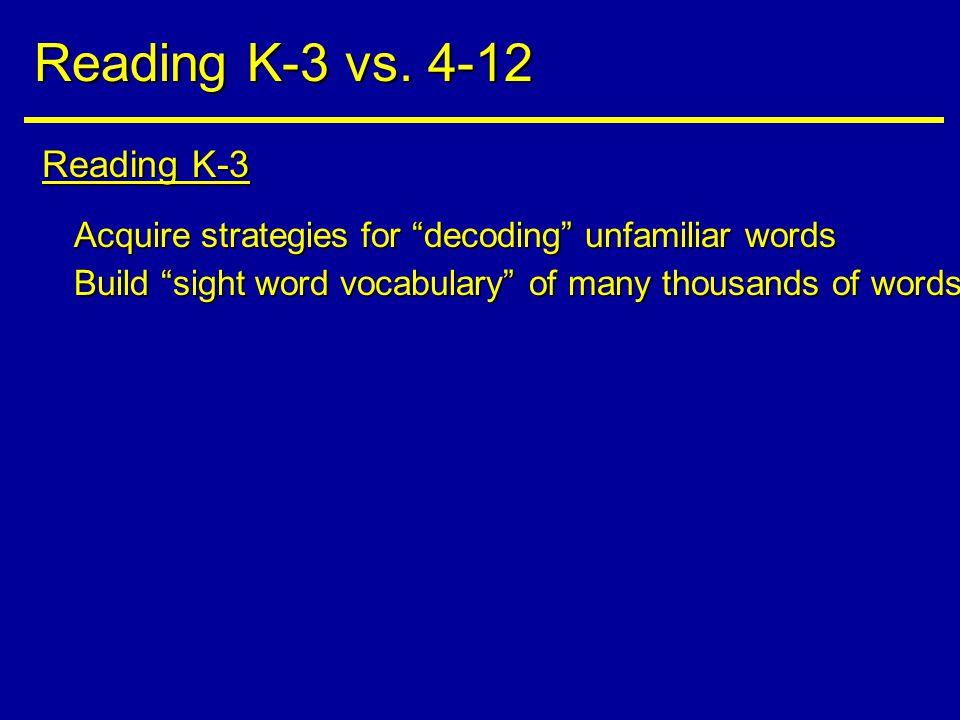 Reading K-3 Reading K-3 vs.