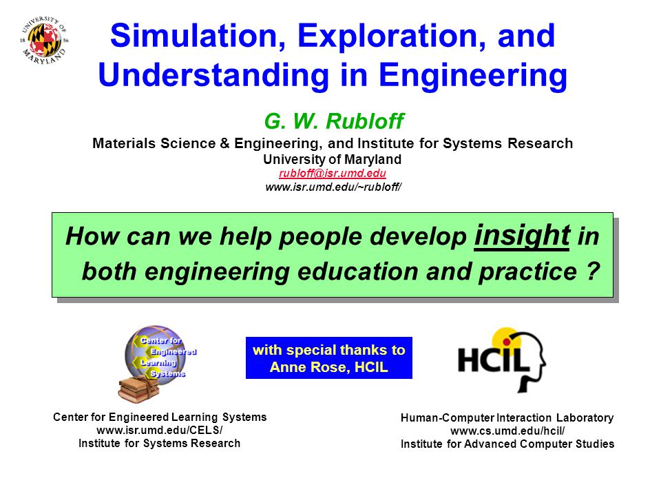 Simulation, Exploration, and Understanding in Engineering G.