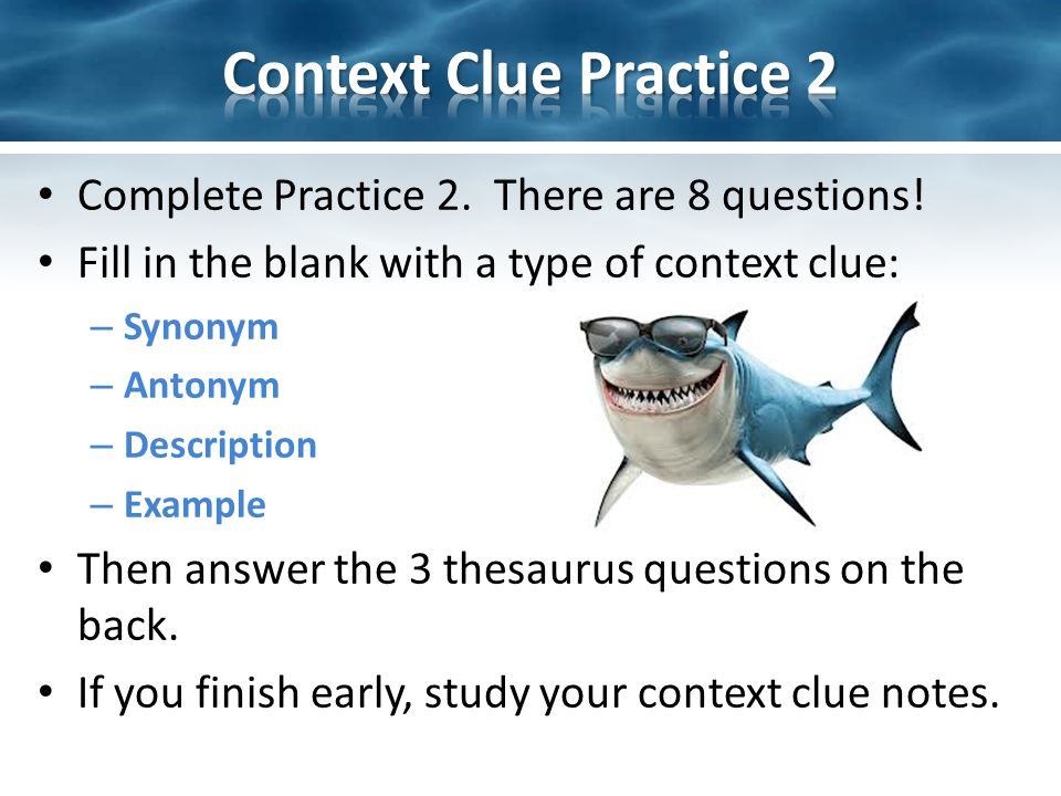 Complete Practice 2. There are 8 questions.
