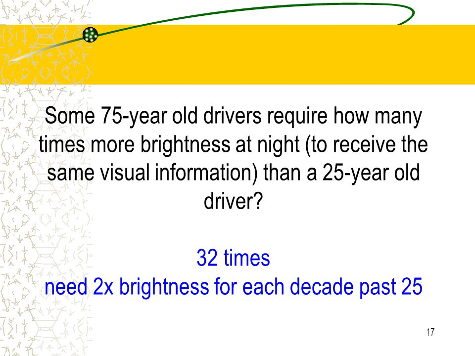 16 From GB: Some 75-year old drivers require how many times the more brightness at night to receive visual information than a 25-year old driver?
