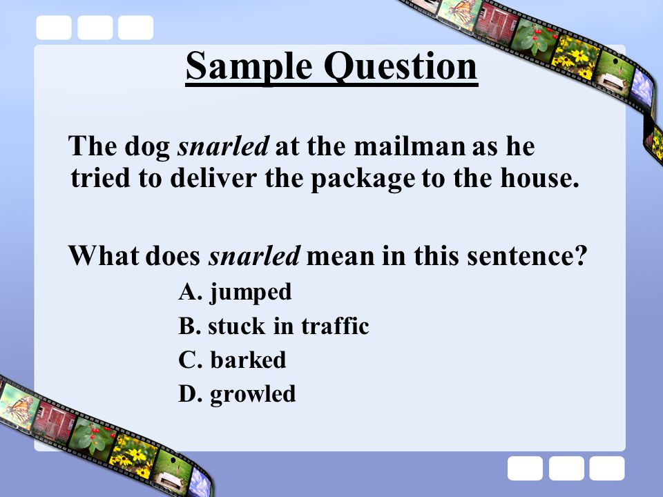 Sample Question The dog snarled at the mailman as he tried to deliver the package to the house. What does snarled mean in this sentence? A. jumped B.