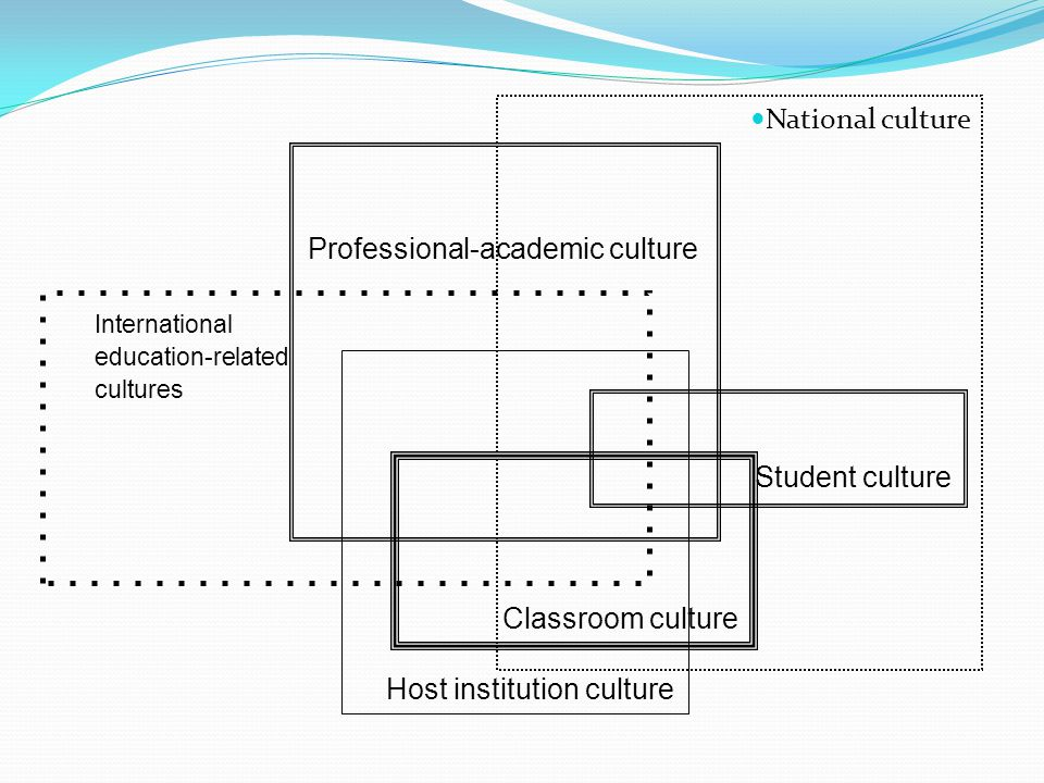 National culture Professional-academic culture International education-related cultures Host institution culture Student culture Classroom culture