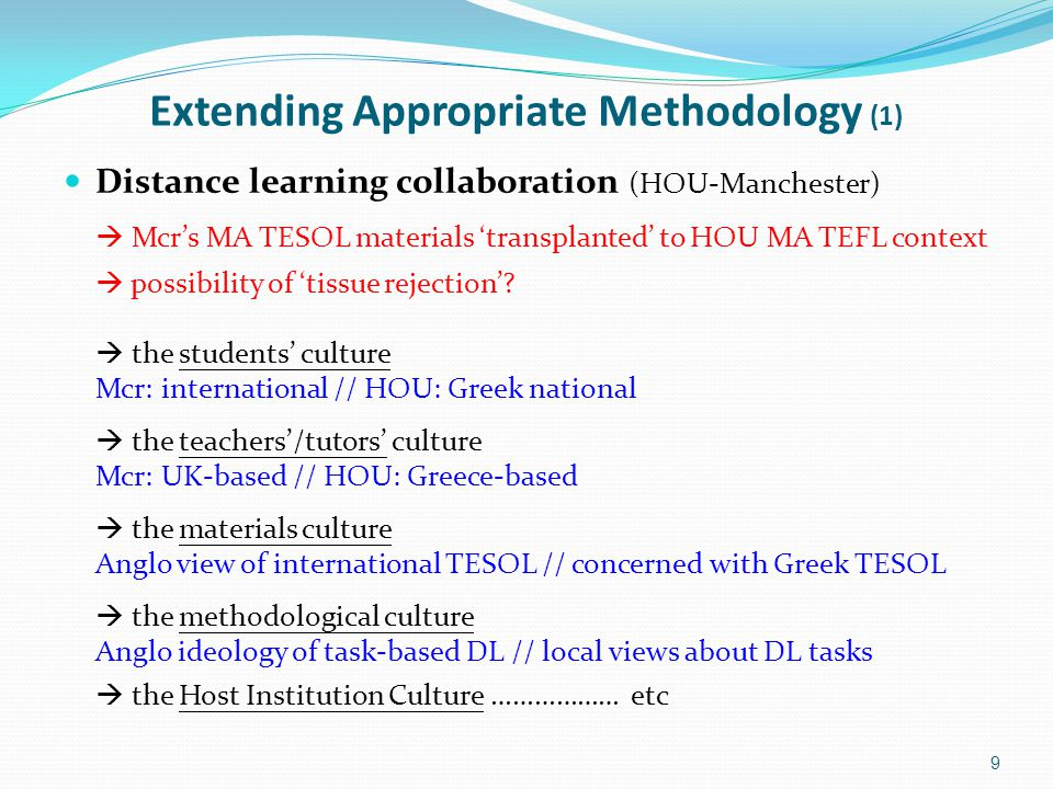 Extending Appropriate Methodology (1) Distance learning collaboration (HOU-Manchester)  Mcr's MA TESOL materials 'transplanted' to HOU MA TEFL context  possibility of 'tissue rejection'.