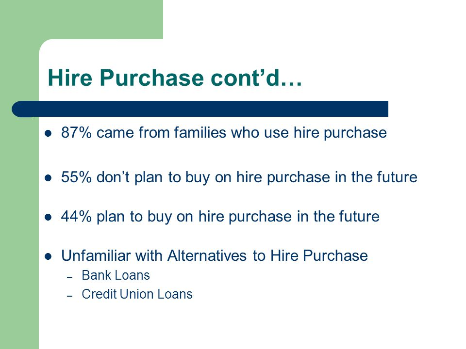 Hire Purchase cont'd… 87% came from families who use hire purchase 55% don't plan to buy on hire purchase in the future 44% plan to buy on hire purchase in the future Unfamiliar with Alternatives to Hire Purchase – Bank Loans – Credit Union Loans