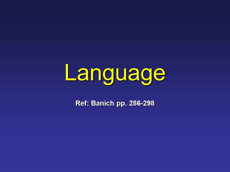Language Ref: Banich pp. 286-298