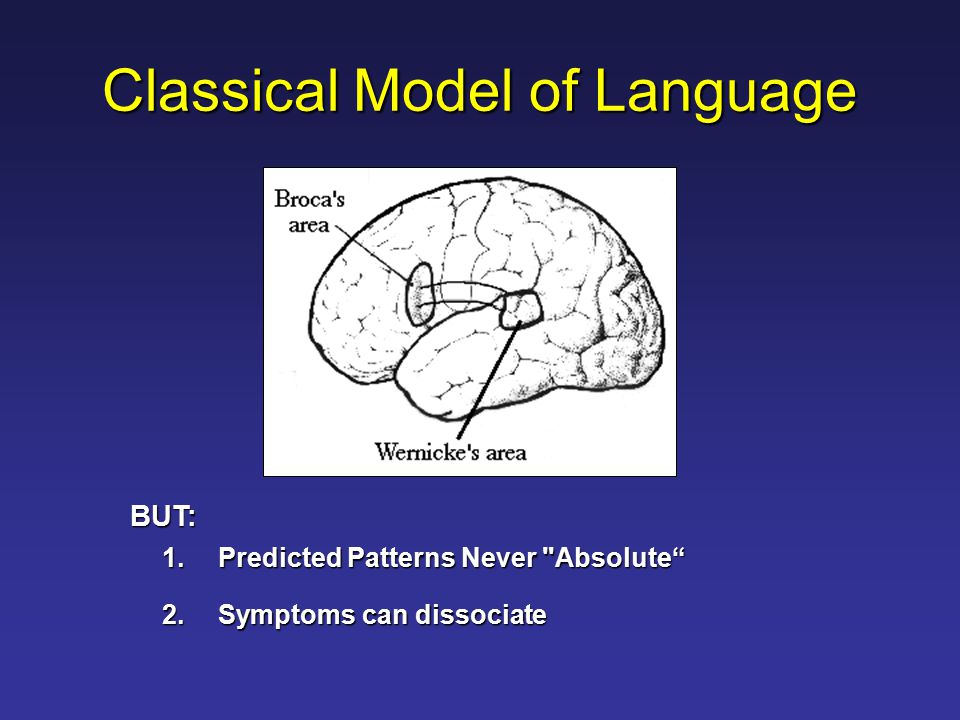 Classical Model of Language 1.Predicted Patterns Never Absolute 2.Symptoms can dissociate BUT: