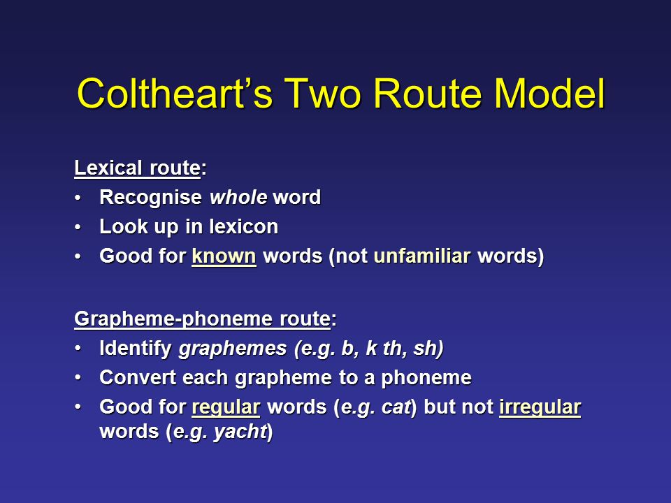 Coltheart's Two Route Model Lexical route: Recognise whole word Recognise whole word Look up in lexicon Look up in lexicon Good for known words (not unfamiliar words) Good for known words (not unfamiliar words) Grapheme-phoneme route: Identify graphemes (e.g.