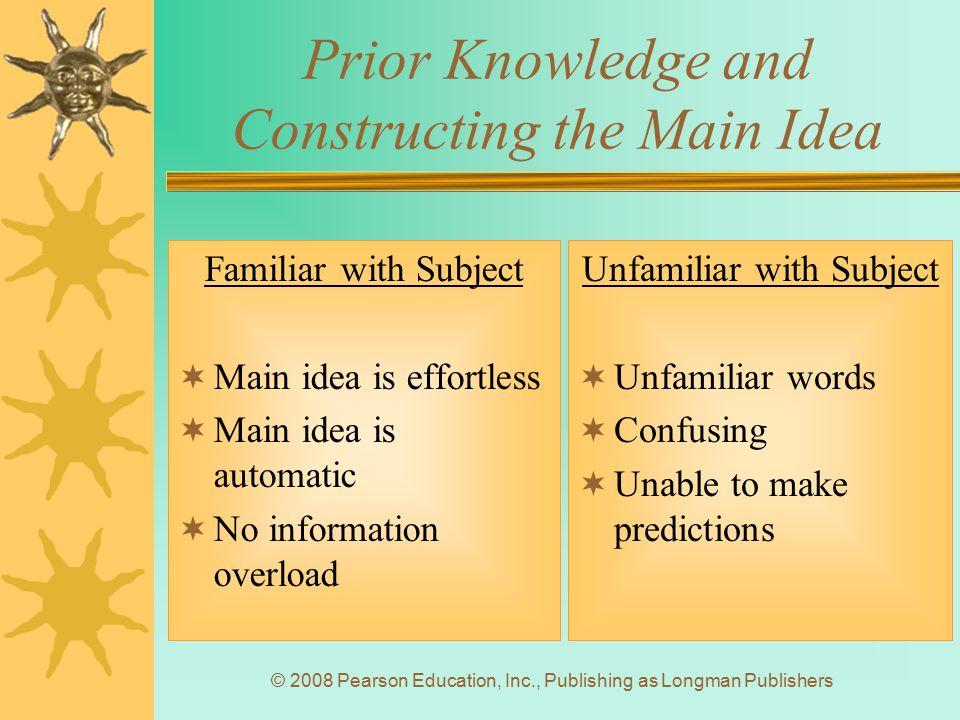 © 2008 Pearson Education, Inc., Publishing as Longman Publishers Prior Knowledge and Constructing the Main Idea Familiar with Subject  Main idea is e