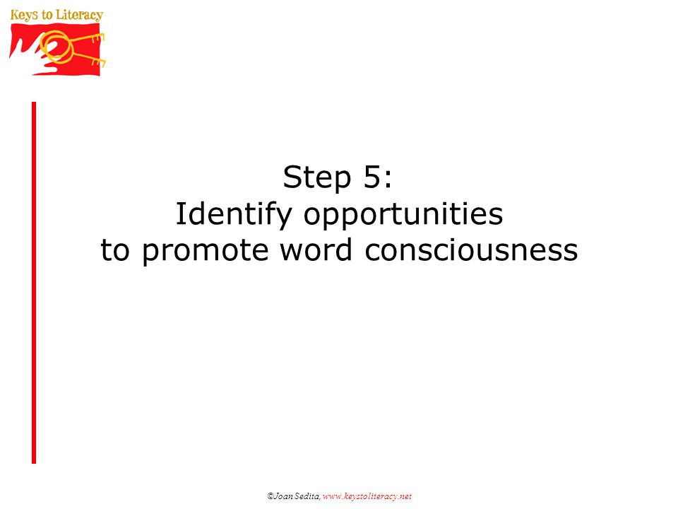 ©Joan Sedita, www.keystoliteracy.net Step 5: Identify opportunities to promote word consciousness