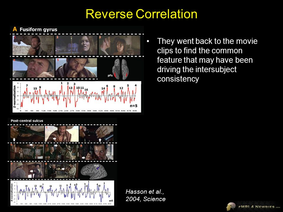 Reverse Correlation They went back to the movie clips to find the common feature that may have been driving the intersubject consistency Hasson et al., 2004, Science