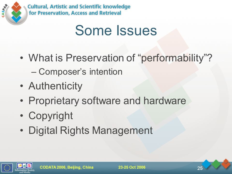 CODATA 2006, Beijing, China Oct Some Issues What is Preservation of performability .