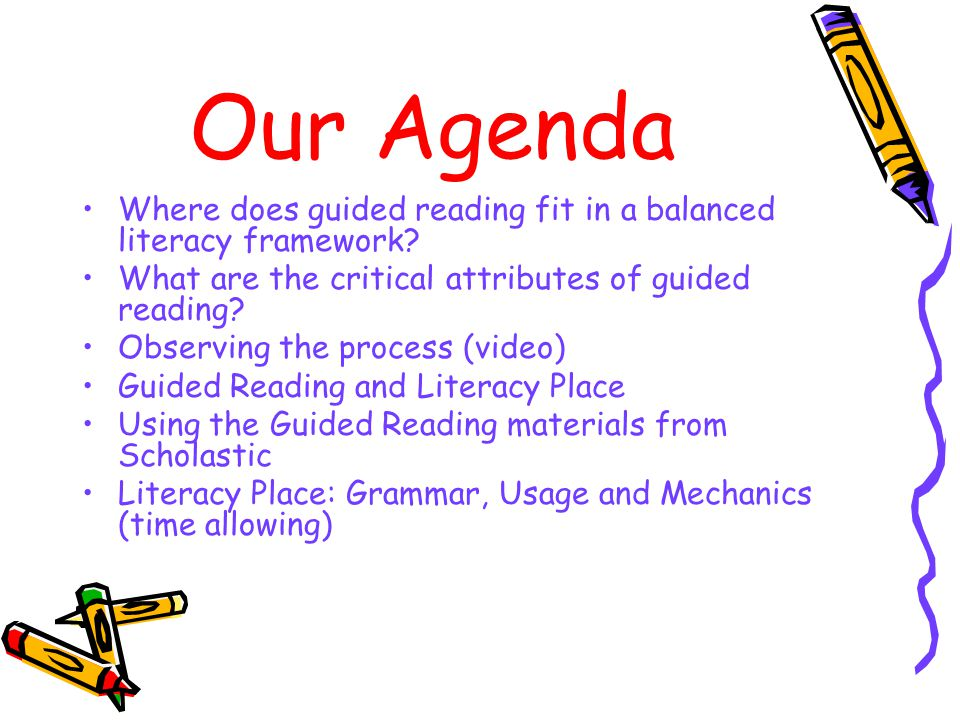 Our Agenda Where does guided reading fit in a balanced literacy framework.