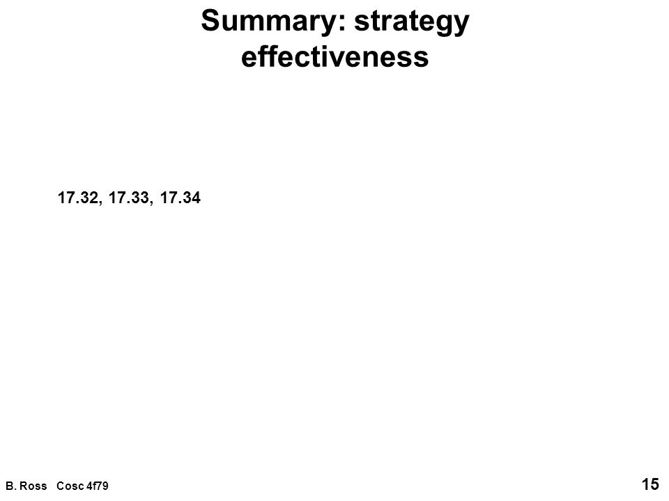 B. Ross Cosc 4f79 15 Summary: strategy effectiveness 17.32, 17.33, 17.34