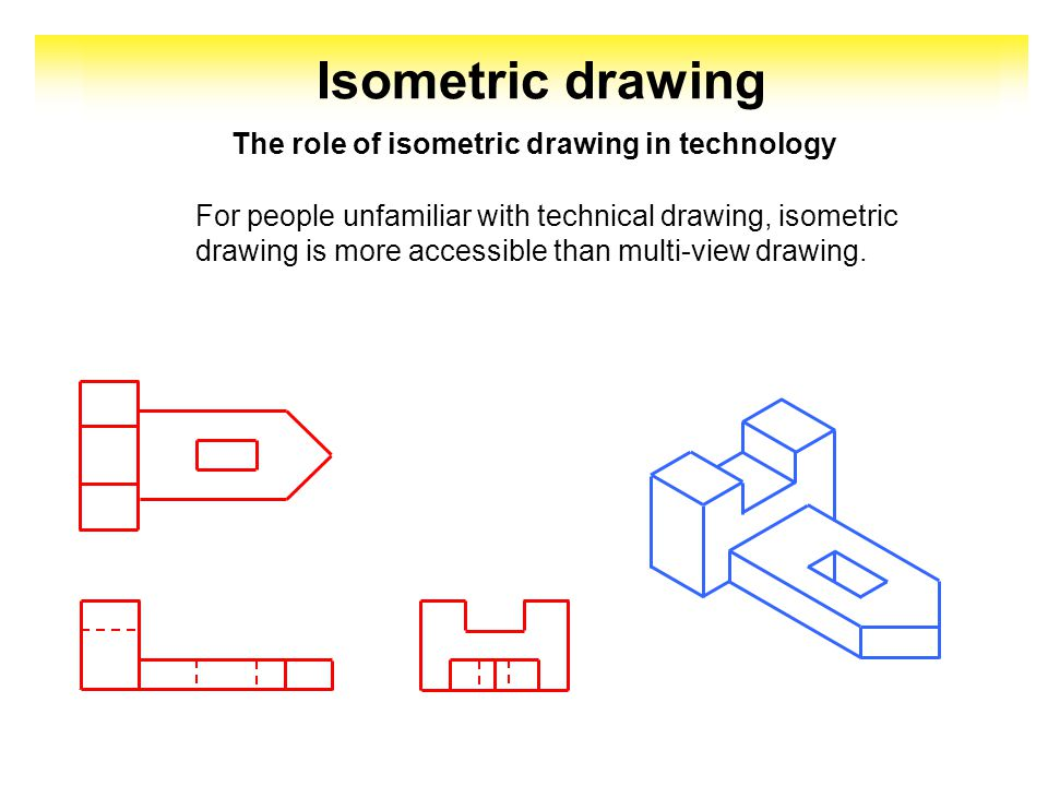 The role of isometric drawing in technology For people unfamiliar with technical drawing, isometric drawing is more accessible than multi-view drawing