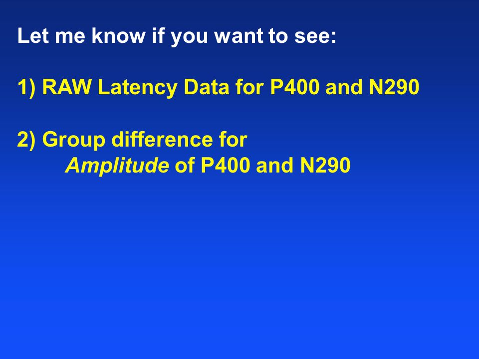 2) Group difference for Amplitude of P400 and N290 3) Group differences in the effects of Familiarity Let me know if you want to see: 1) RAW Latency Data for P400 and N290
