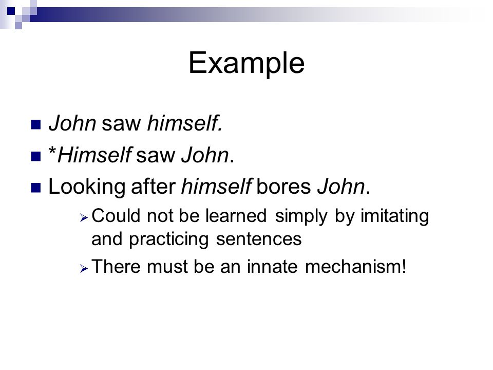 Example John saw himself. *Himself saw John. Looking after himself bores John.