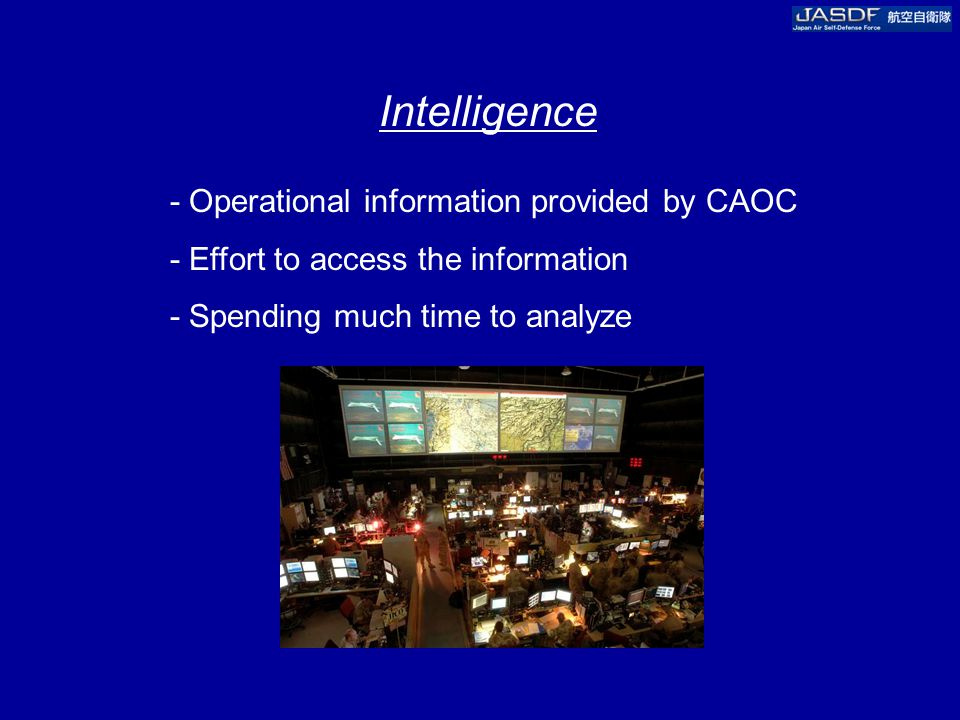 Intelligence - Operational information provided by CAOC - Effort to access the information - Spending much time to analyze