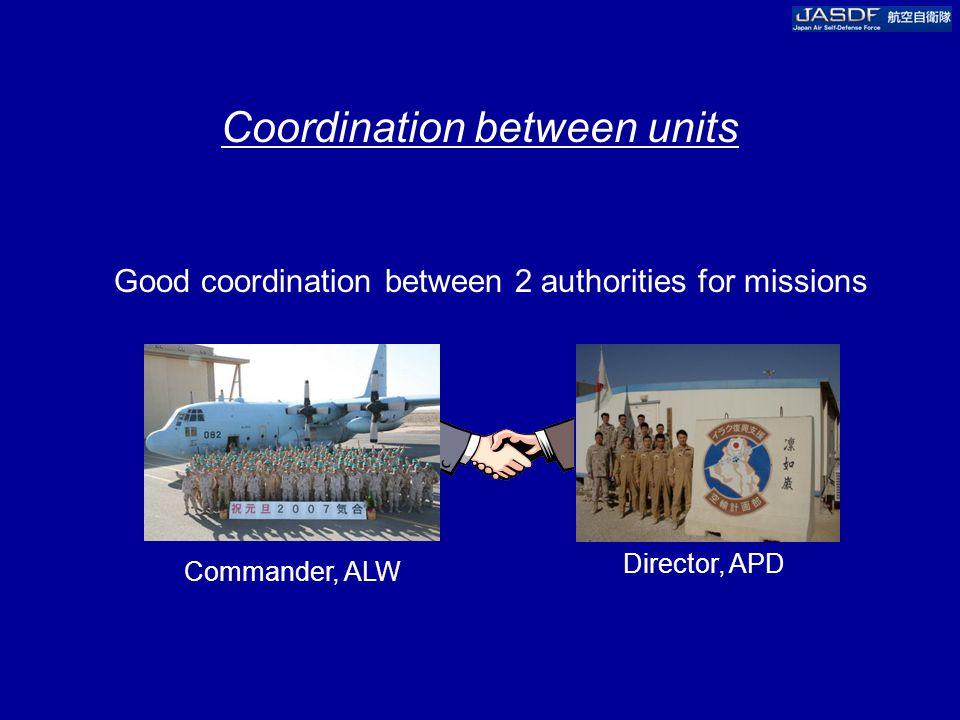 Coordination between units Good coordination between 2 authorities for missions Commander, ALW Director, APD