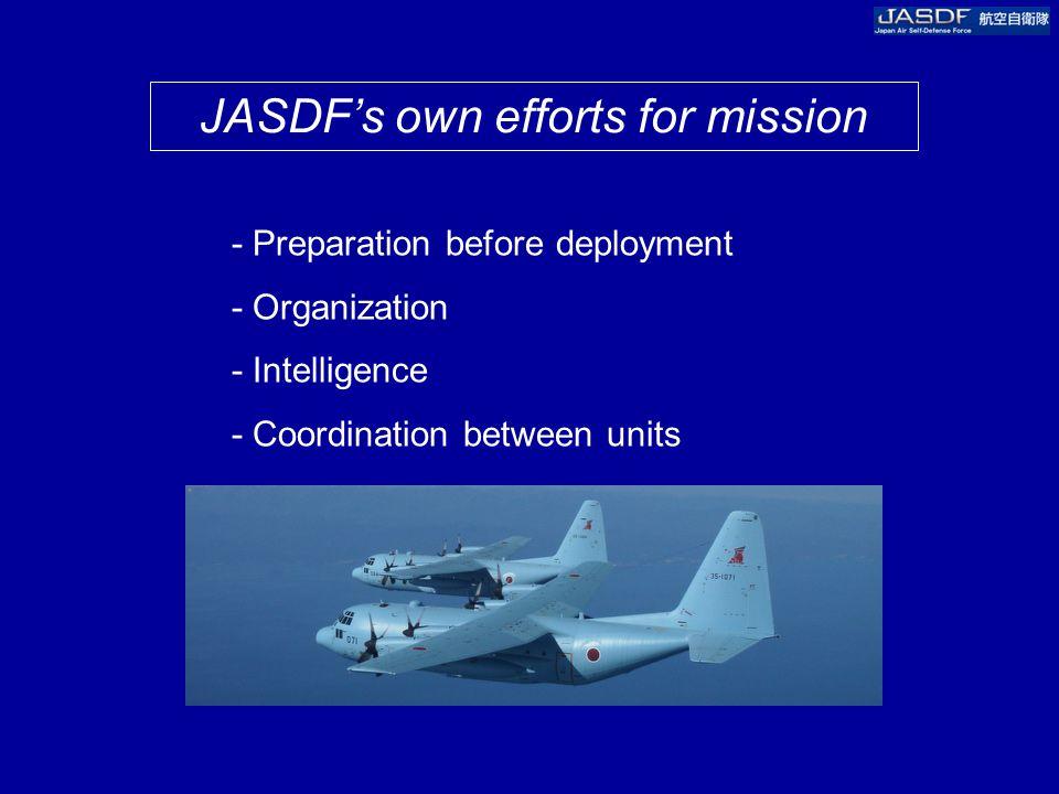 JASDF's own efforts for mission - Preparation before deployment - Organization - Intelligence - Coordination between units