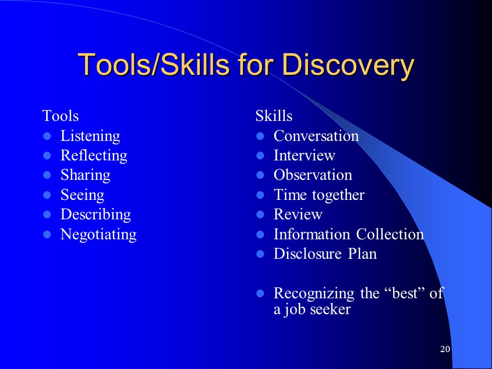20 Tools/Skills for Discovery Tools Listening Reflecting Sharing Seeing Describing Negotiating Skills Conversation Interview Observation Time together
