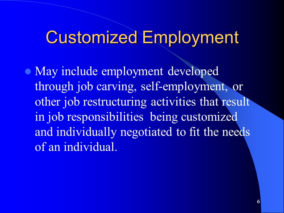 6 Customized Employment May include employment developed through job carving, self-employment, or other job restructuring activities that result in job responsibilities being customized and individually negotiated to fit the needs of an individual.