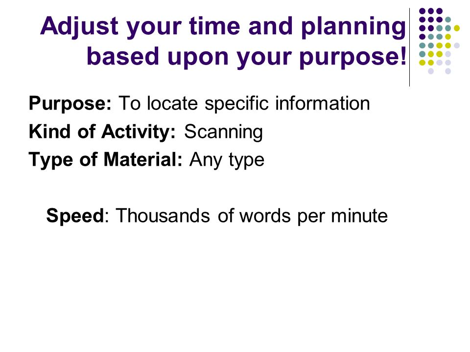 Adjust your time and planning based upon your purpose.