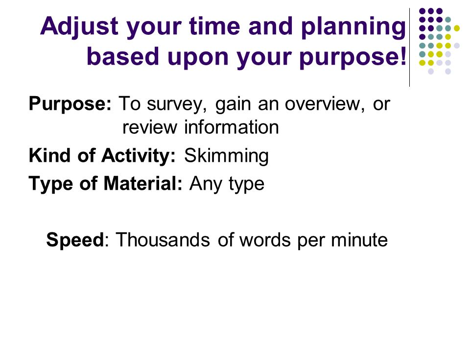 Adjust your time and planning based upon your purpose! Purpose: To survey, gain an overview, or review information Kind of Activity: Skimming Type of