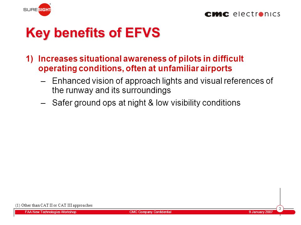 3 FAA New Technologies WorkshopCMC Company Confidential 9 January 2007 Key benefits of EFVS 1)Increases situational awareness of pilots in difficult operating conditions, often at unfamiliar airports –Enhanced vision of approach lights and visual references of the runway and its surroundings –Safer ground ops at night & low visibility conditions (1) Other than CAT II or CAT III approaches