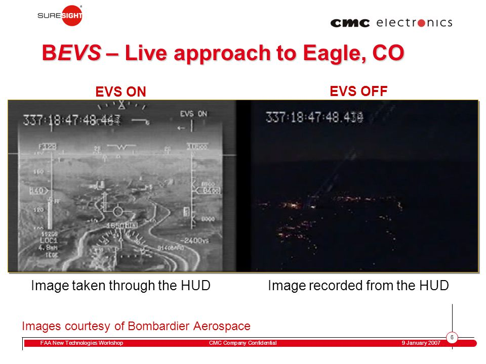 6 FAA New Technologies WorkshopCMC Company Confidential 9 January 2007 BEVS – Live approach to Eagle, CO Image recorded from the HUD EVS ON Image take