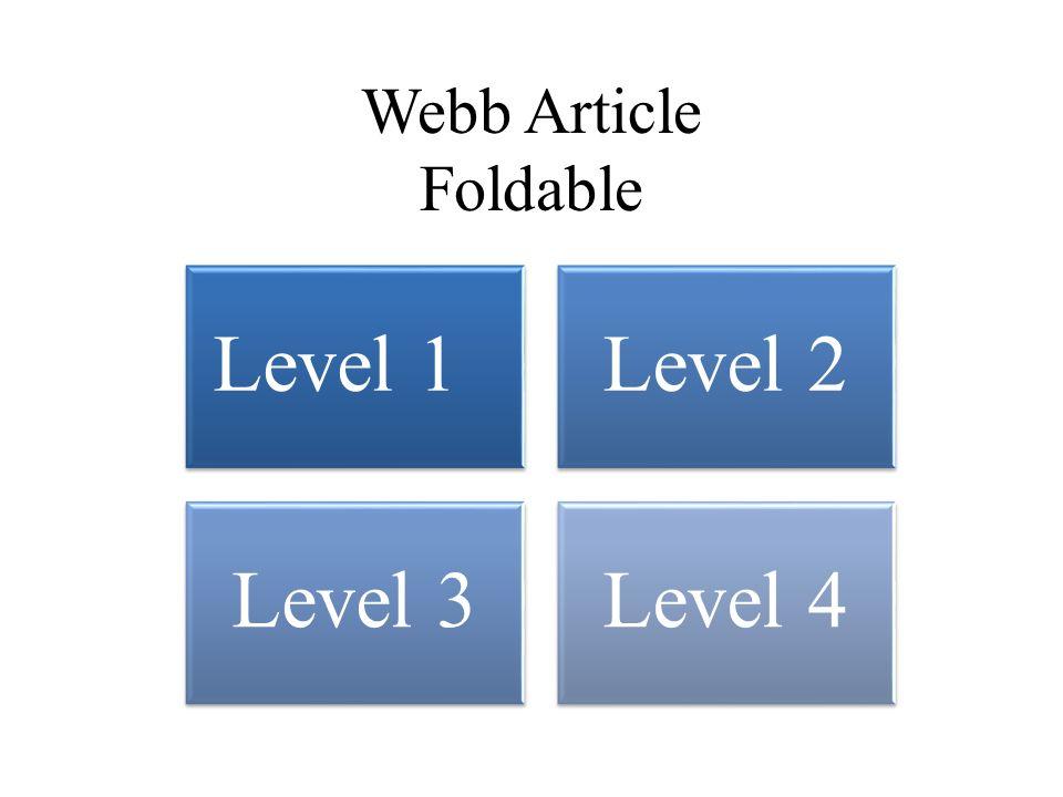 Webb Article Foldable Level 1Level 2 Level 3Level 4