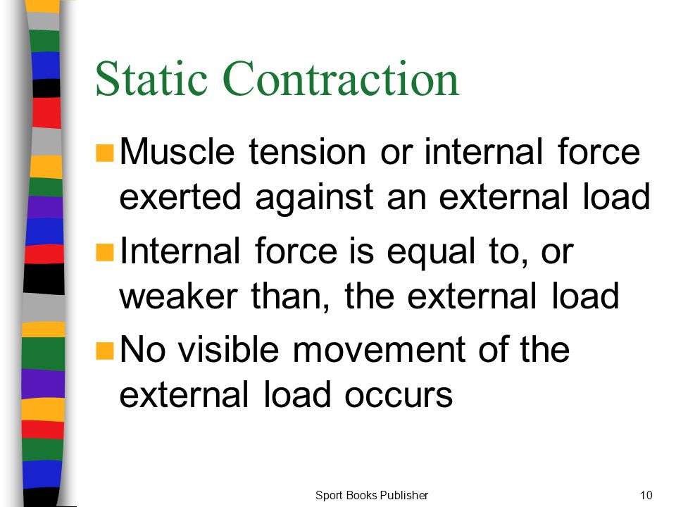 Sport Books Publisher10 Static Contraction Muscle tension or internal force exerted against an external load Internal force is equal to, or weaker tha