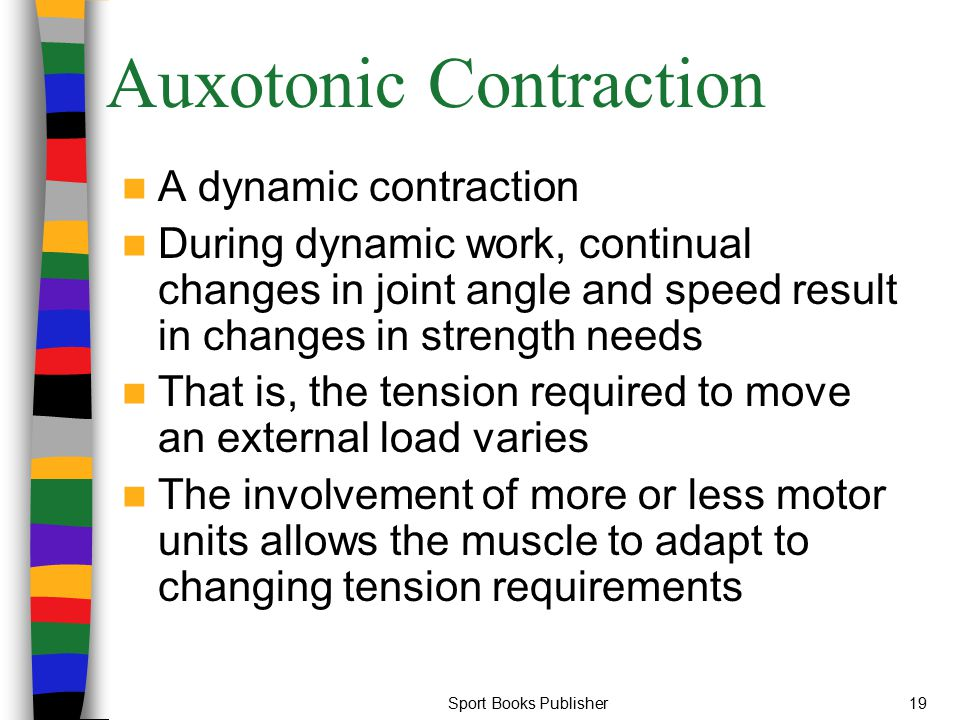 Sport Books Publisher19 Auxotonic Contraction A dynamic contraction During dynamic work, continual changes in joint angle and speed result in changes