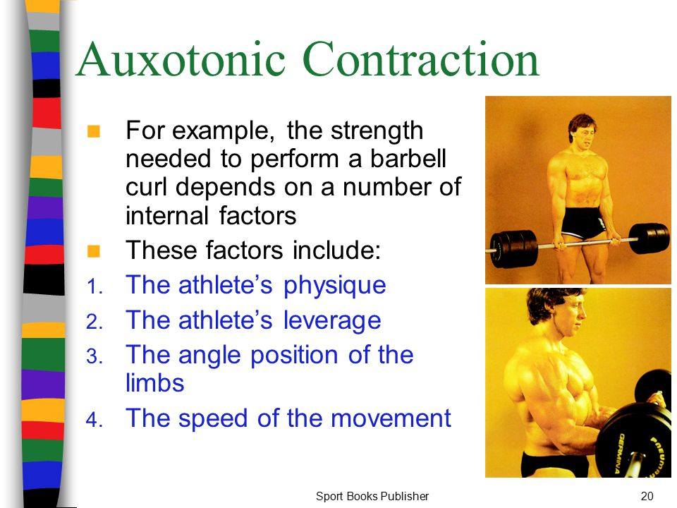 Sport Books Publisher20 Auxotonic Contraction For example, the strength needed to perform a barbell curl depends on a number of internal factors These
