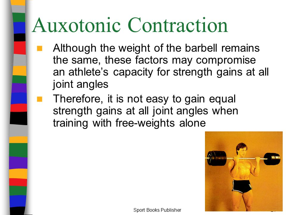 Sport Books Publisher21 Auxotonic Contraction Although the weight of the barbell remains the same, these factors may compromise an athlete's capacity
