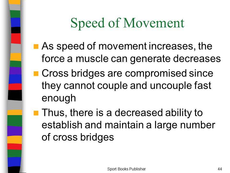 Sport Books Publisher44 Speed of Movement As speed of movement increases, the force a muscle can generate decreases Cross bridges are compromised sinc