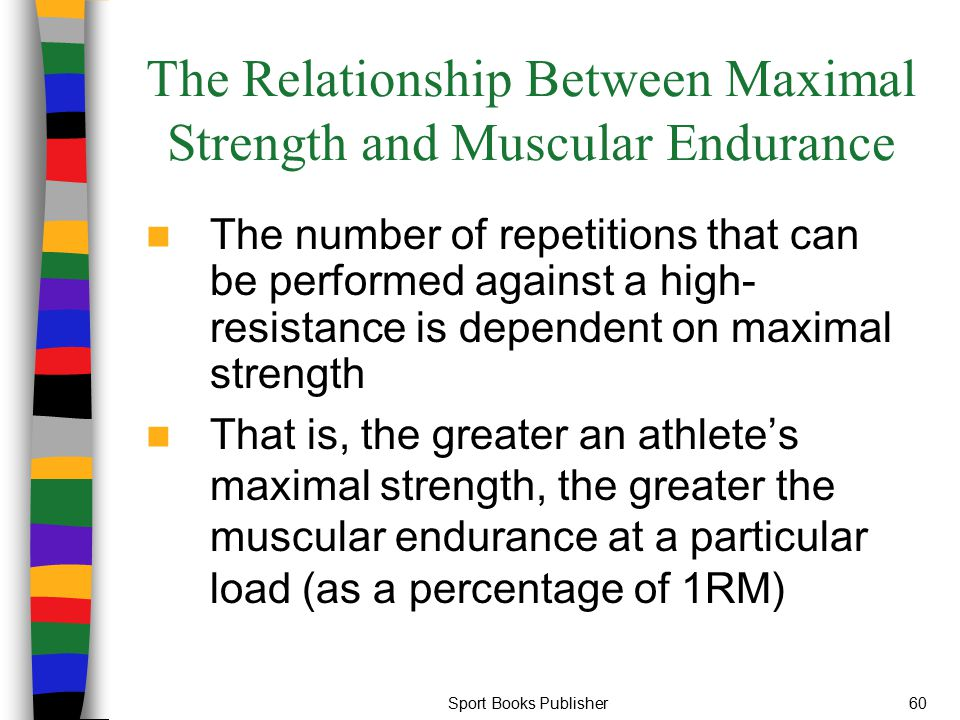 Sport Books Publisher60 The Relationship Between Maximal Strength and Muscular Endurance The number of repetitions that can be performed against a hig