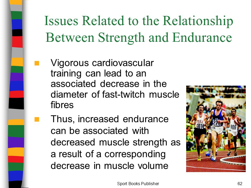 Sport Books Publisher62 Issues Related to the Relationship Between Strength and Endurance Vigorous cardiovascular training can lead to an associated d