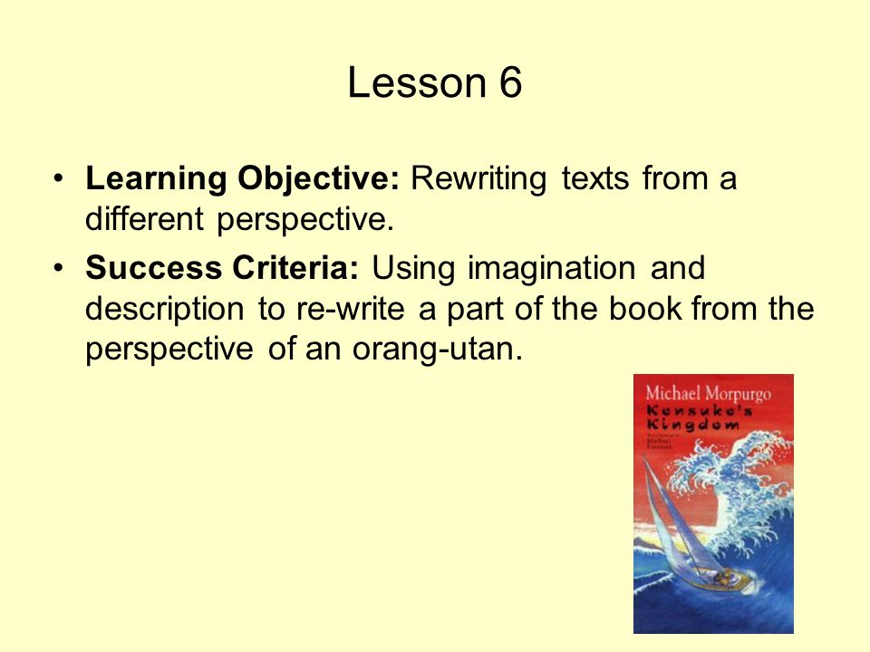 Lesson 6 Learning Objective: Rewriting texts from a different perspective. Success Criteria: Using imagination and description to re-write a part of t