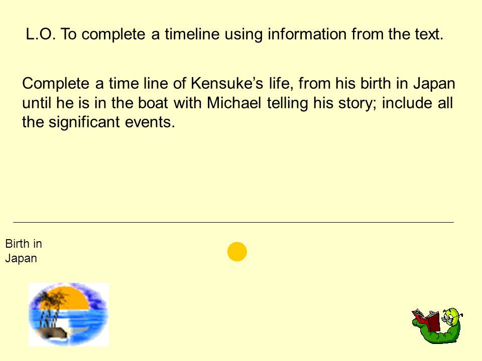 L.O. To complete a timeline using information from the text. Complete a time line of Kensuke's life, from his birth in Japan until he is in the boat w