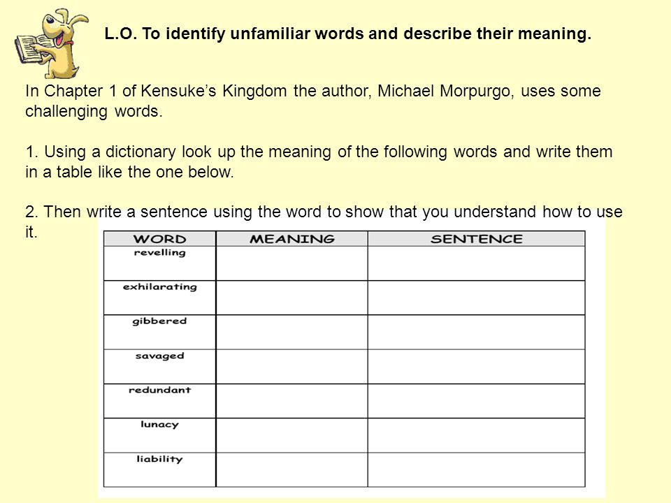 L.O. To identify unfamiliar words and describe their meaning. In Chapter 1 of Kensuke's Kingdom the author, Michael Morpurgo, uses some challenging wo