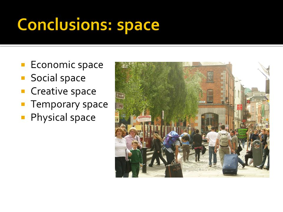  Economic space  Social space  Creative space  Temporary space  Physical space