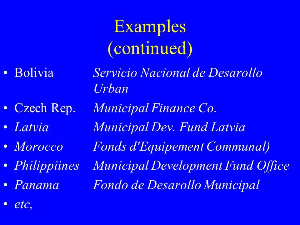 Examples (continued) BoliviaServicio Nacional de Desarollo Urban Czech Rep.Municipal Finance Co.