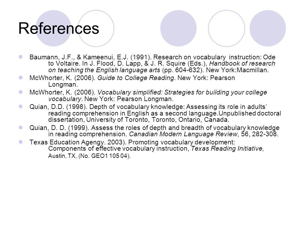 References Baumann, J.F., & Kameenui, E.J. (1991).